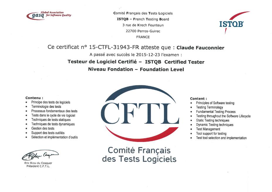 Certification internationale ISTQB